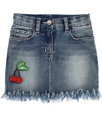 monnalisa cherries denim fringed mini skirt