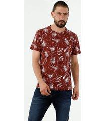 camiseta de hombre, cuello redondo, manga corta, con estampado de hojas