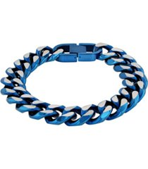 macy's men's beveled curb link bracelet in two-tone stainless steel