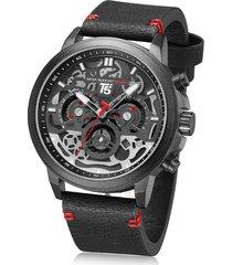 reloj de hombre t5 pulso cuero h3624g-a - negro con rojo