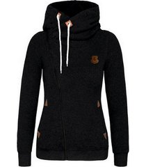 women's sports personality side zipper hooded cardigan sweater jacket black