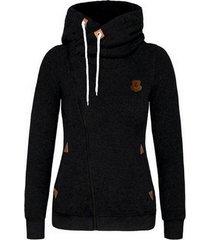 women's sports personality side zipper hooded cardigan sweater jacket black