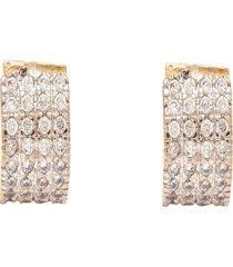 brinco kumbayá argola articulada pequena impéria semijoia banho de ouro 18k cravação de zircônias detalhe em ródio