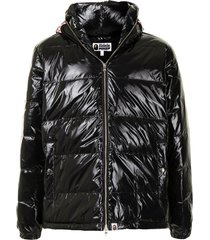 a bathing ape® padded shark print jacket - black