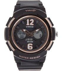 reloj negro-oro rosa virox