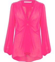blusa feminina cartola liso - rosa
