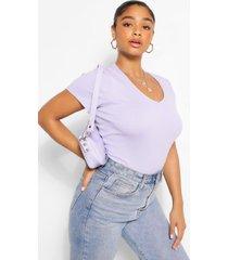 plus basic cotton v neck t-shirt, lilac