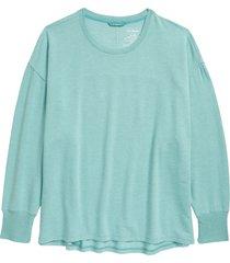 women's l.l.bean softflex sweatshirt, size large - blue/green