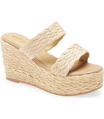 women's kaanas tenerife raffia platform wedge sandal, size 10 m - beige