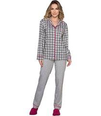 pijama vincullus manga longa com abertura frontal cinza - tricae