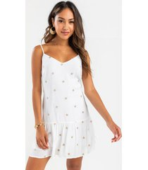 brianna star swing dress - white
