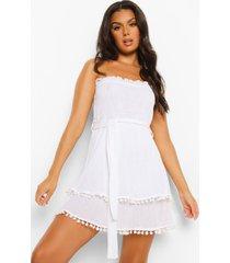 geplooide gekreukelde katoenen strapless strand jurk, white