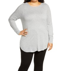 plus size women's caslon shirttail tunic, size 3x - grey