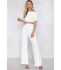 womens crew neckline crop top and pants set - white
