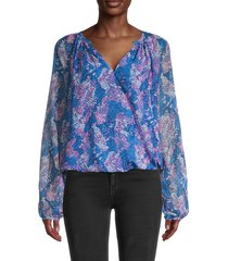 ramy brook women's printed blouson top - navy bubblegum pink - size s