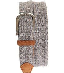 men's canali woven wool & suede belt, size 36 - dark beige