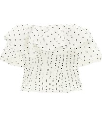 self-portrait polka dot bustier top with ruffles