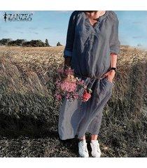 zanzea vestido de manga larga con botones para mujer vestidos holgados de algodón sueltos -gris