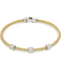 alor women's two-tone stainless steel, 18k white gold & diamond bracelet