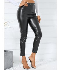 yoins black piel sintética pantalones