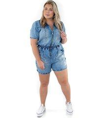 macaquinho jeans com zãper ecolife azul - multicolorido - feminino - dafiti