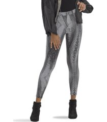 hue faded python denim high rise capri leggings