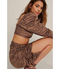 na-kd trend veckad kjol - brown
