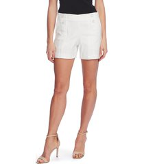 women's vince camuto doubleweave button shorts, size 14 - white
