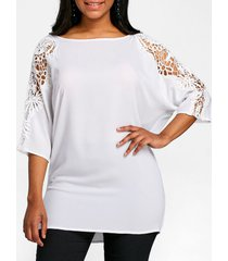 lace panel dolman sleeve tunic t-shirt