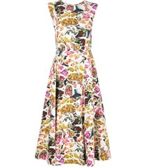adam lippes floral print fluted dress - multicolour