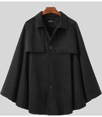 incerun abrigo de capa con cuello clásico negro a la moda para hombre