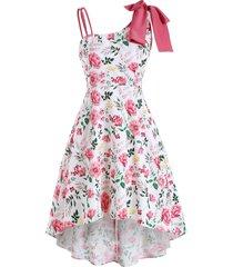 asymmetrical bowknot floral high low dress