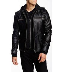 men black detachable fabric hooded leather jacket, biker leather jacket men