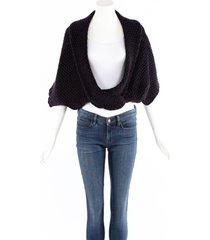 alaia blue chunky knit draped cropped cardigan sweater blue sz: m