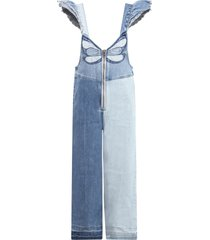 stella mccartney kids light blue overalls for girl with butterfly