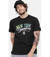 camiseta mlb new york yankees new era green and blue masculina