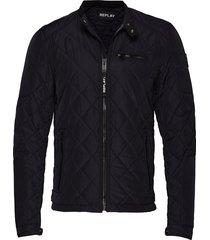 jacket doorgestikte jas zwart replay