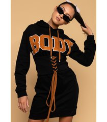 akira body body hoodie dress with attached corset
