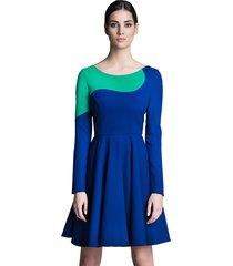 sukienka z długim rękawem kobaltowo-zielona