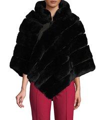 quilted rabbit fur zip poncho