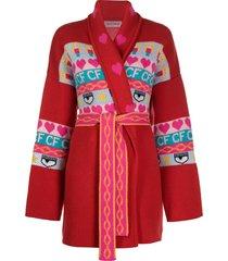 chiara ferragni intarsia knit longline cardigan - red