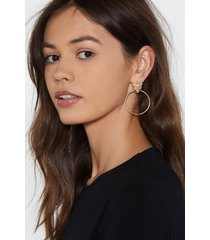 womens eye of the tiger hoop earrings - gold