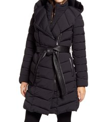 women's bernardo water resistant asymmetrical zip belted puffer coat, size x-large - black