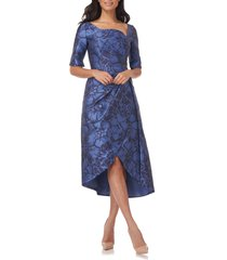 kay unger tallulah ruched cocktail dress, size 2 in mediterranean blue/twilight at nordstrom