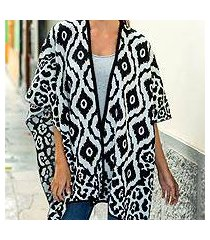 reversible alpaca blend ruana cape, 'black and white tile' (peru)