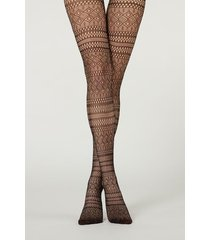 calzedonia stripe patchwork pattern fishnet tights woman black size 3/4