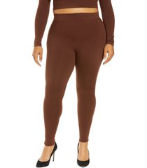 plus size women's naked wardrobe the nw high waist leggings, size 1x - brown