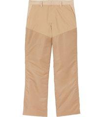 burberry nylon panel cotton blend wide-leg trousers - neutrals