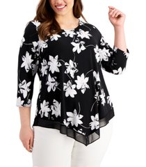 alfani plus size floral-print point-hem top, created for macy's