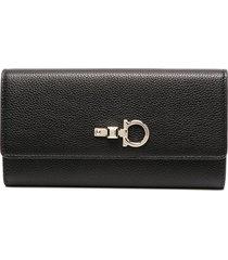 salvatore ferragamo gancini-plaque folding wallet - black